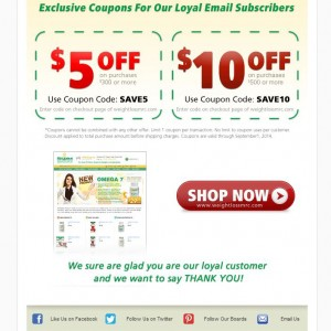 Email Campaign - Metabolic Research Center for customer coupons.
