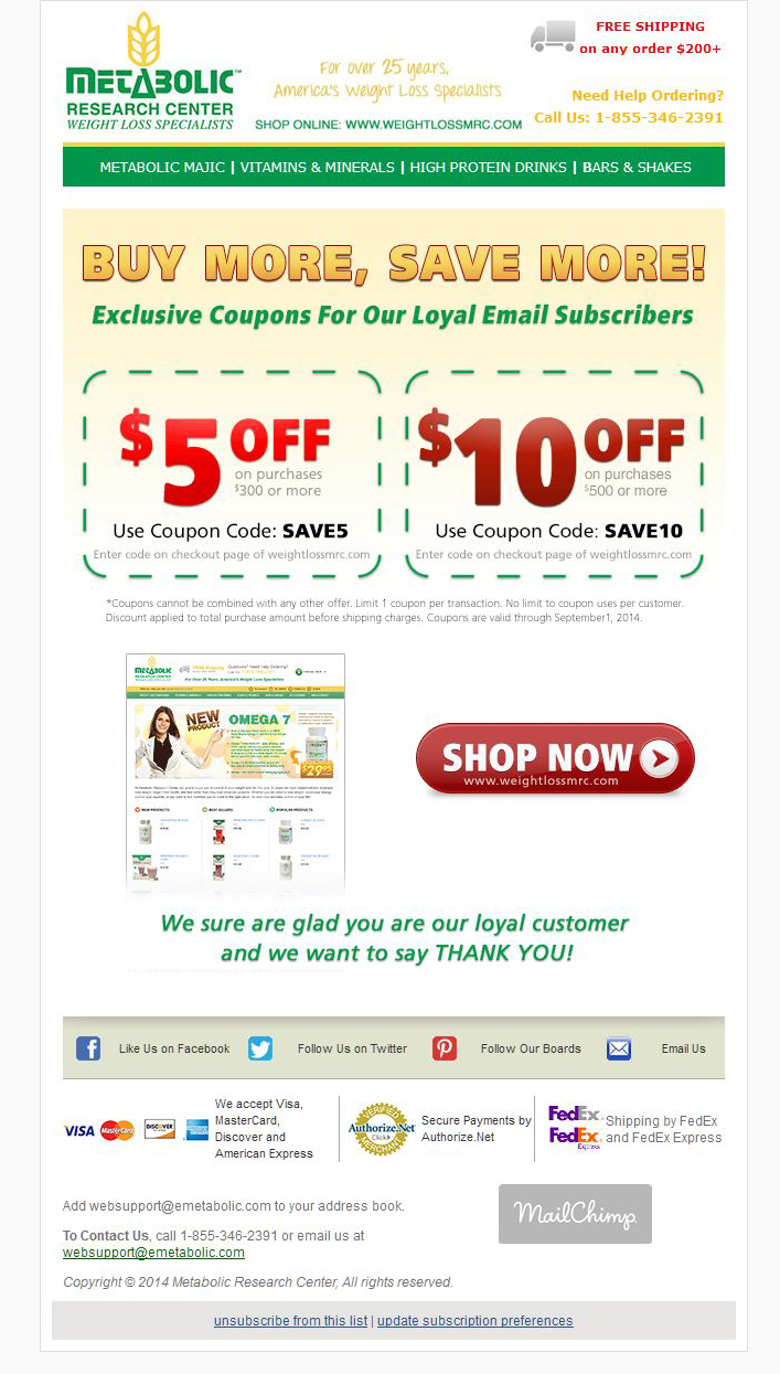 metabolic research center coupon code